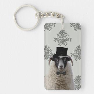 Moutons drôles de jeune marié dans le chapeau porte-clé rectangulaire en acrylique double face