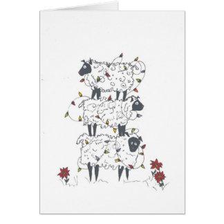 Moutons empilés à Noël Carte De Vœux