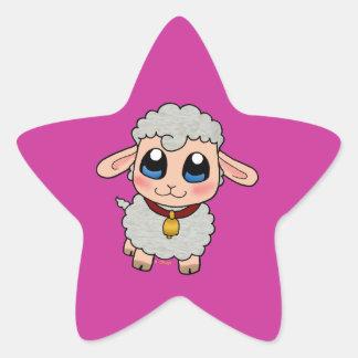 Moutons mignons autocollant en étoile