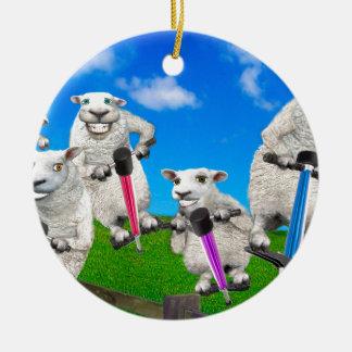 Moutons sautants ornement rond en céramique