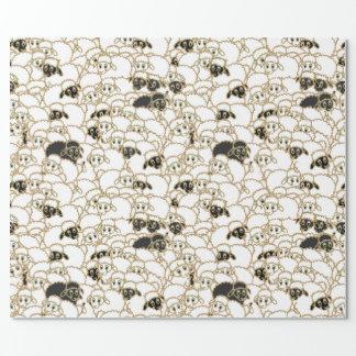 moutons, troupeau énorme noir et blanc papier cadeau noël