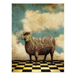 Moutons vintages de Paisley en Brown Carte Postale