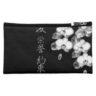 Moyenne Trousse De Maquillage Orchidées japonaises dans le noir