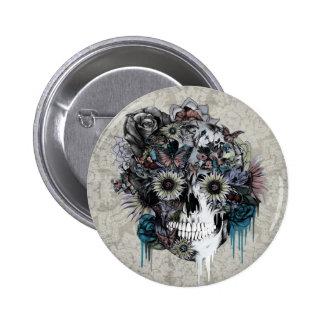 Muet, damassé de crâne de tournesol badge rond 5 cm
