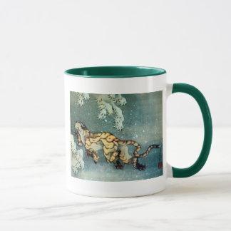 Mug 雪中虎図, tigre de 北斎 dans la neige, Hokusai
