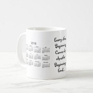 Mug 2018-2019 calendrier blanc de nouveaux débuts par