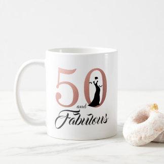 Mug 50 et anniversaire d'or rose fabuleux cinquantième