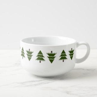 Mug À Soupe Arbres à feuillage persistant avec la neige