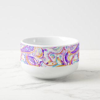 Mug À Soupe Conception colorée blanche mignonne de Paisley