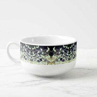 Mug À Soupe Cuvette avec la copie de feuille en verts