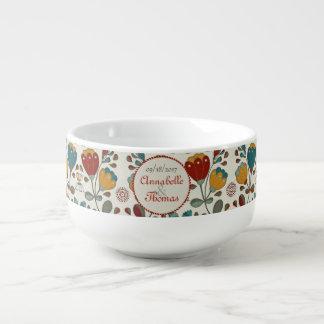 Mug À Soupe Ethno vintage fleurit des noms faits sur commande