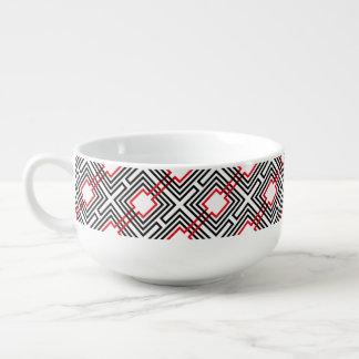 Mug À Soupe Géométrique rouge et blanc noir