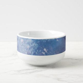 Mug À Soupe L'eau blanche bleue triste de vague de peinture