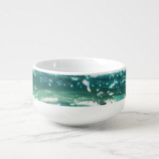 Mug À Soupe Lignes de peinture blanches d'abrégé sur turquoise
