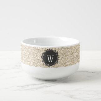 Mug À Soupe Motif floral d'or avec le monogramme gris-foncé de