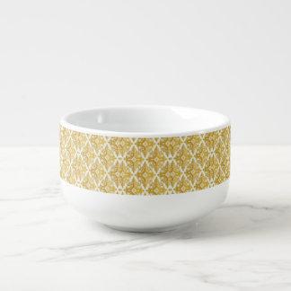 Mug À Soupe Or et damassé blanche de papier peint