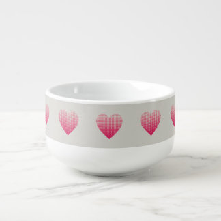 Mug À Soupe Petit motif rose de coeurs gris-clair