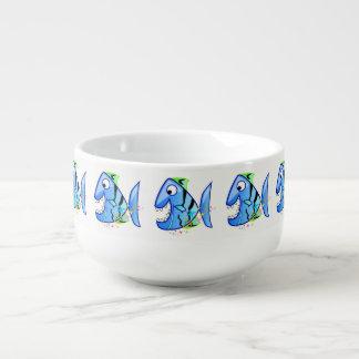 Mug À Soupe Piranha tropical bleu avec des étoiles