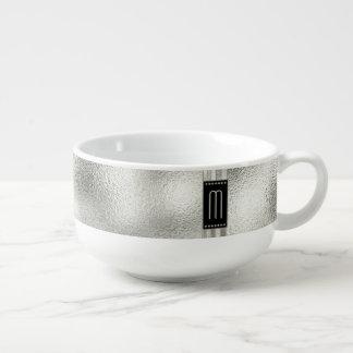 Mug À Soupe Rayures en métal sur le monogramme en verre ID443