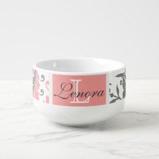 Mug À Soupe Saumon et monogramme floral Girly gris