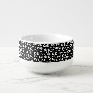 Mug À Soupe Yeux blancs/tasse noire de soupe à arrière - plan