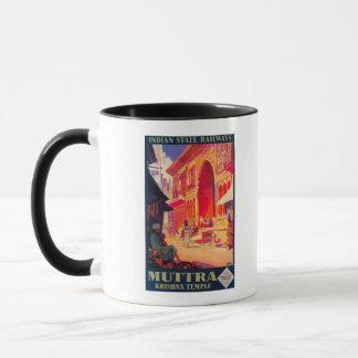 Mug Affiche de voyage de temple de Muttra Krishna