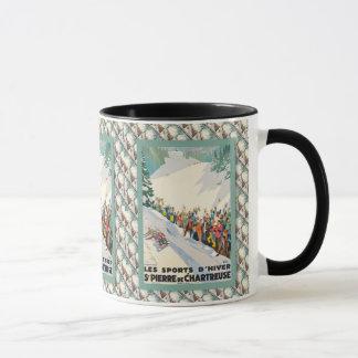 Mug Affiche vintage de ski, en de Saint Pierre
