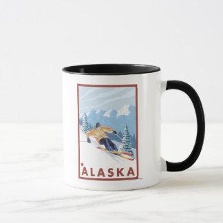 Mug Affiche vintage de voyage de Skieur de neige de