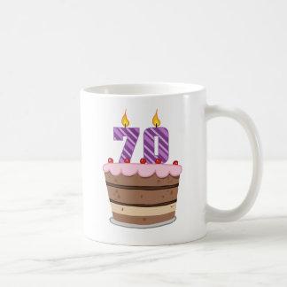 Mug Âge 70 sur le gâteau d'anniversaire