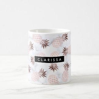 Mug ananas rose d'or de marbre blanc moderne élégant