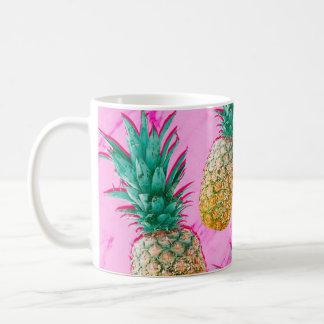 Mug Ananas tropicaux et coloré moderne de marbre rose
