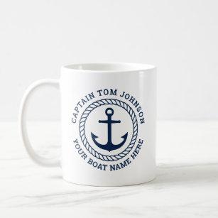 Mug Ancrage et corde du capitaine et du nom du bateau