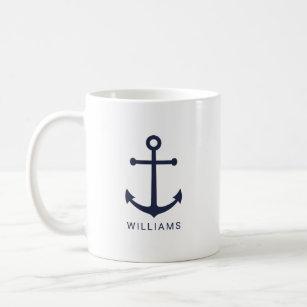 Mug Ancre bleue marine moderne avec nom personnalisé