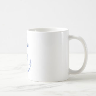 Mug ancre bleue vintage avec la corde