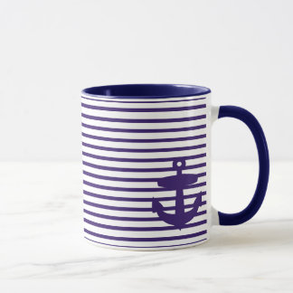 Mug Ancre de marine avec les rayures bretonnes bleues