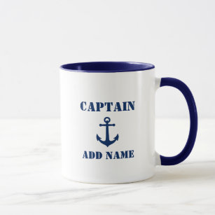 Mug Ancre marine Vintage Nom du capitaine ou du bateau