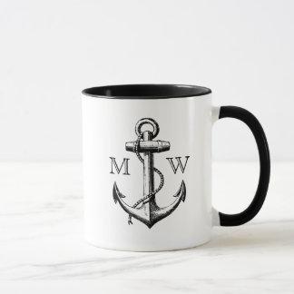 Mug Ancre, monogramme nautique