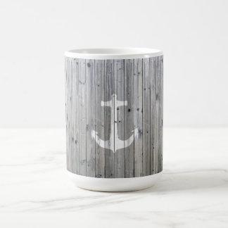 Mug Ancre nautique blanche vintage de hippie sur le