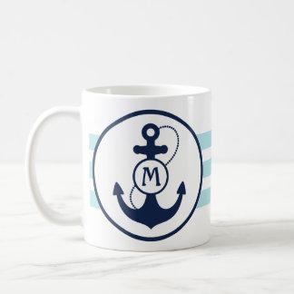 Mug Ancre nautique bleue d'Aqua