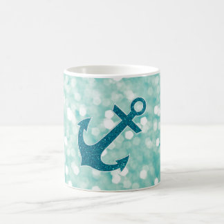 Mug Ancre nautique de scintillement de Bokeh d'Aqua