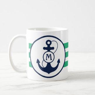 Mug Ancre nautique verte