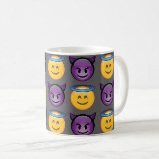 Mug Ange contre le motif d'Emoji de diable