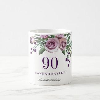 Mug Anniversaire floral de prune de rose élégant de