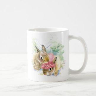 Mug Aquarelle de Noël | - lapins de forêt d'hiver