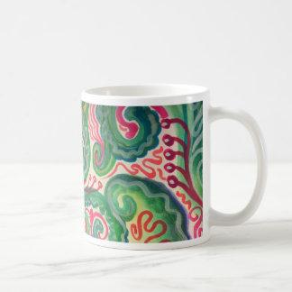 Mug Aquarelle lunatique : Rose et II vert clair