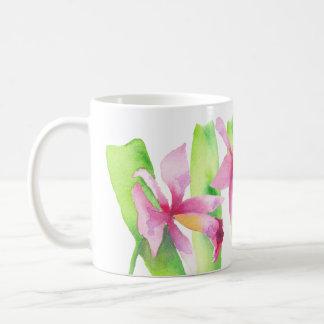 Mug Aquarelle Orchidée Fleur Rose Violette Décorative