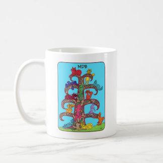 Mug Arbre de chat de Paisley de monogramme de coutume