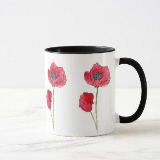 Mug Art botanique de pavot d'aquarelle rouge de fleur