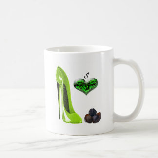 Mug Art stylet de chaussure et de chocolats de vert de