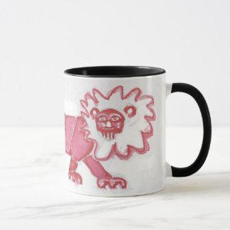 Mug audacieux noir rouge mignon de lion contemporain